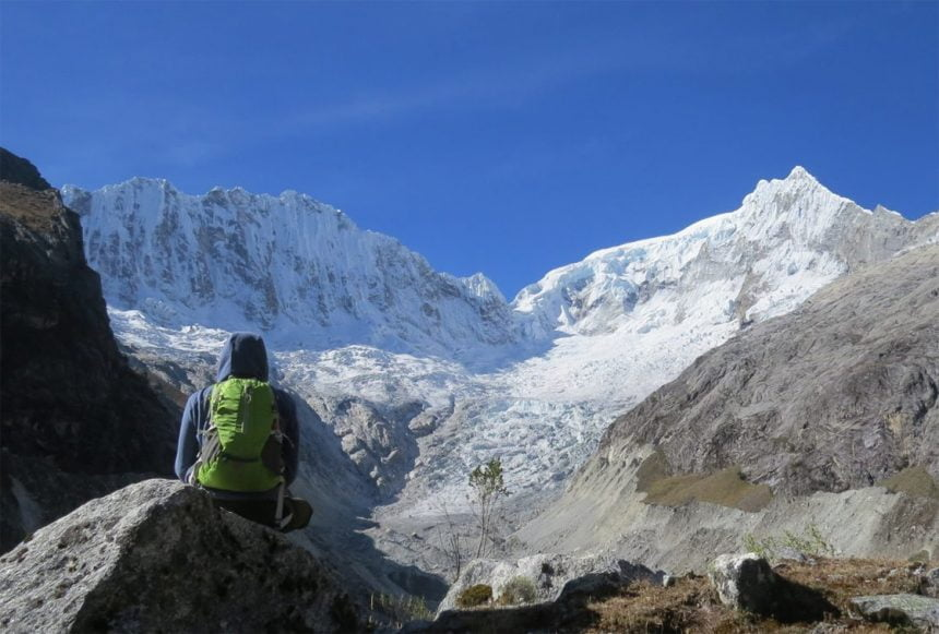 The trail to Yanapaccha Summit In Cordillera Blanca