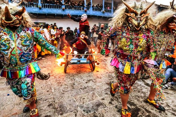 Saqra characters in Paucartambo St. carmen festival
